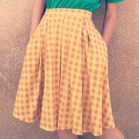 LuLaRoe Yellow Gingham A Line Skirt